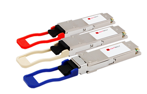 3 transceivers with 1 red, 1 cream, and 1 blue cap