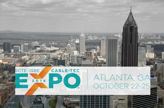 EXPO 2018 Cable-Tec in Atlanta, Georgia Banner with cityscape background