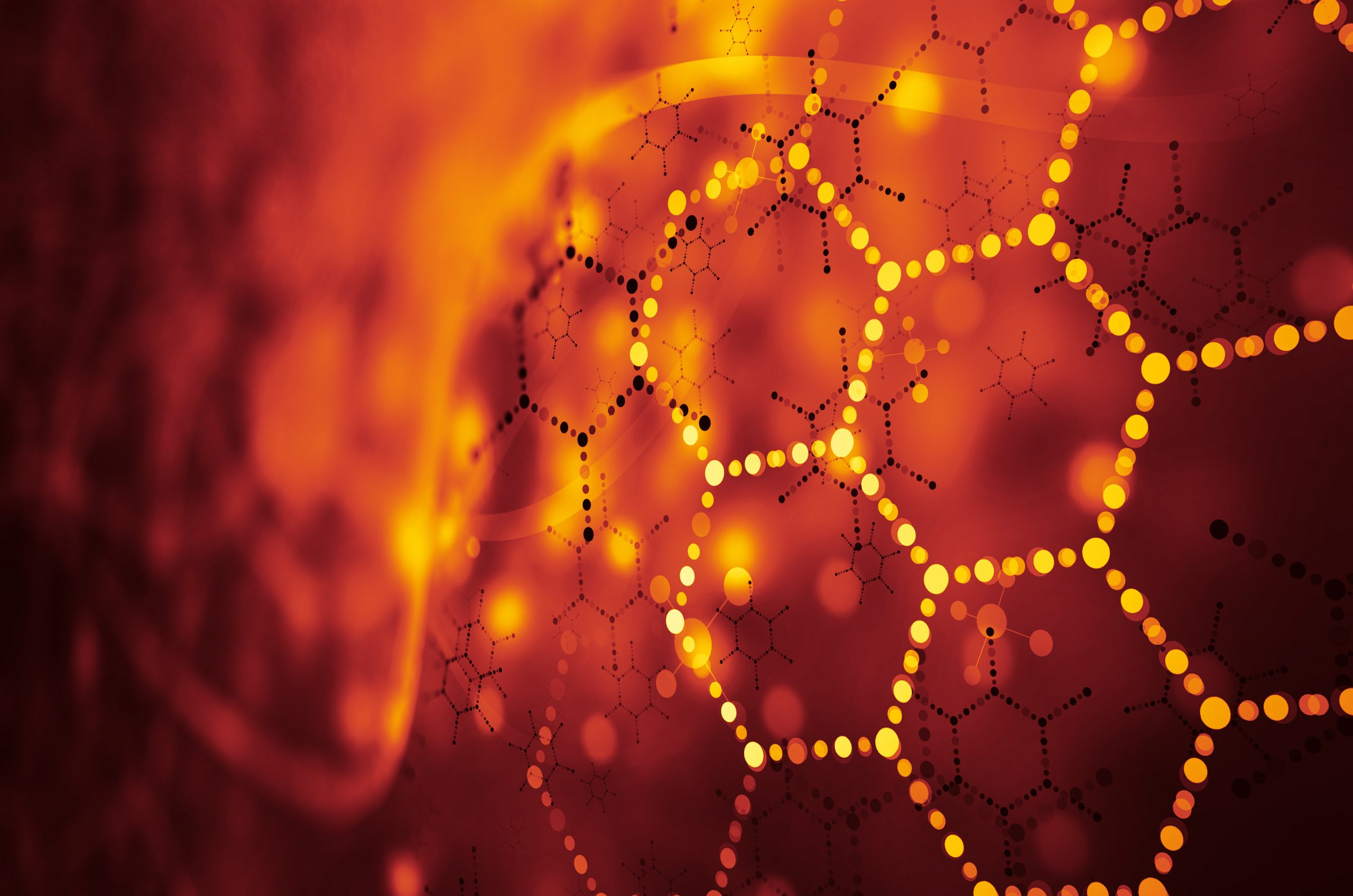 lined up orange lit dots in the shape of hexagons in an abstract