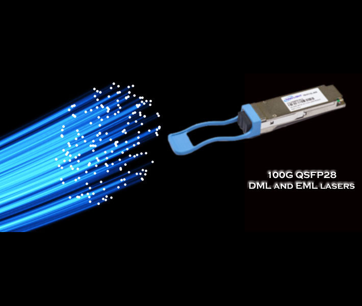 bright blue light fibers and a transceiver